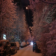 Snow-covered street and passing cars dark winter night with electric light. Stock Footage