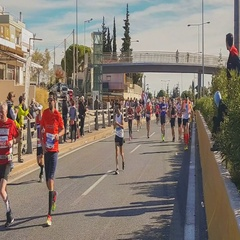 People from all over the world are running the authentic Marathon race. Stock Footage
