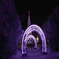 Festive Christmas illuminations in the city at night. Stock Footage