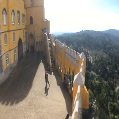 Sintra Mountains Top View From Pena Palace, Portugal Stock Footage