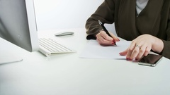 Woman Writing and Scrunching Up a Piece of Paper Stock Footage