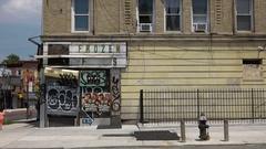 Closed Bodega Corner Store in Crown Heights Brooklyn Stock Footage