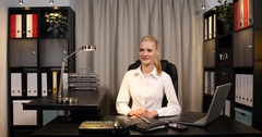 Optimistic Businesswoman Looking Interview Hand Gestures Thumb Up Sign in Office Stock Footage