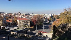 Traffic in the old town of Plovdiv Stock Footage