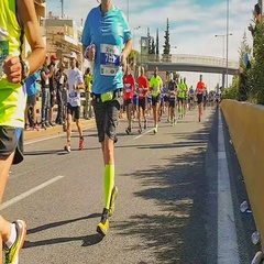 Marathon race in Greece with people from all around the world hyperlapse. Stock Footage