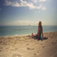 Woman relaxing on tropical beach in the Riviera Maya. Stock Footage