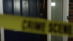 Home Invasion - Break in with crime scene ribbon Stock Footage
