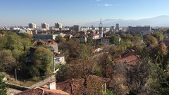 View over the old town from the Roman theatre of Plovdiv Stock Footage
