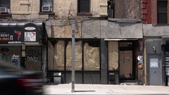Nostrand Avenue Out of Business Storefront in Crown Heights, Brooklyn Stock Footage