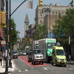 Nostrand Avenue in Brooklyn Busy Traffic Stock Footage