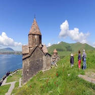 St. Jakob Church on Sevan lake. Armenia Stock Footage