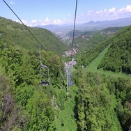 Rise on the ropeway. Type down. Armenia Stock Footage