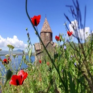 St. Jakob Church on Sevan lake. Armenia Stock Footage