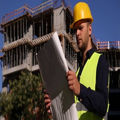 Master Engineer Analyzing Scheme Plan Inspect Looking Around Unfinished Project Stock Footage