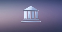 Bank Silver 3d Icon Stock Footage