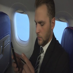 Businessman Manager Purchase Product Online Credit Card Office On Board Aircraft Stock Footage