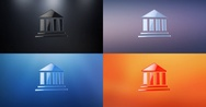 Bank 3d Icon Stock Footage