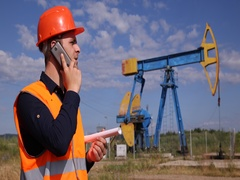 Call Discussion Extracting Technology Worker Man Talking Mobile Phone Reporting Stock Footage