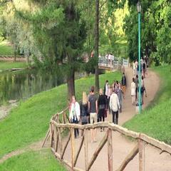 Visitors at the Landscape Park of Pavlovsk Stock Footage