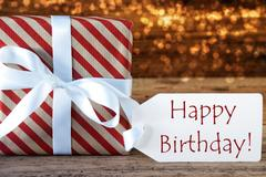 Atmospheric Christmas Gift With Label, Happy Birthday Stock Photos