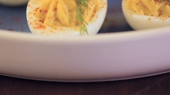 Deviled eggs garnished with fresh dill. Stock Footage