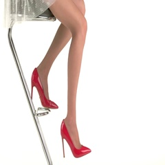 Female legs in red shoes. Stock Footage