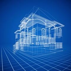 Seamless Looping Villa Architecture Blueprint Stock Footage