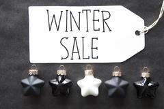 Black Christmas Tree Balls, Text Winter Sale Stock Photos