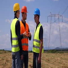 Master Engineers Men Team Work Talk Electricity Pylons Energy Production Concept Stock Footage