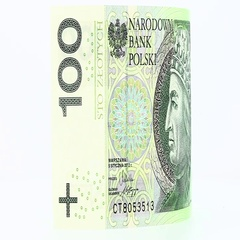One hundred Polish zloty rotates isolated  Stock Footage