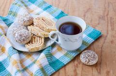 Morning tea with sweets Stock Photos