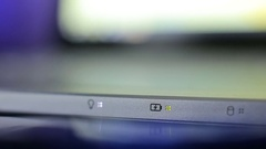 Aluminum laptop led indicators Stock Footage