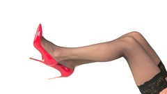 Legs in red heels. Stock Footage