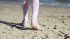 Small Child is Directed the Sea and Stops at the Shore in Ukraine in Marioupol Stock Footage