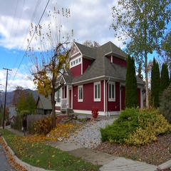Architecture, nice red house autumn, establishing shot Stock Footage