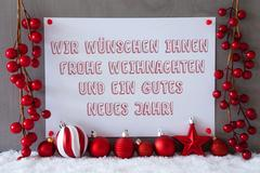 Label, Snow, Christmas Balls, Gutes Neues Means New Year Stock Photos