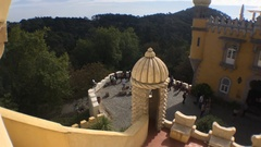 Pena Palace Top View of Towers In Sintra, Portugal Stock Footage