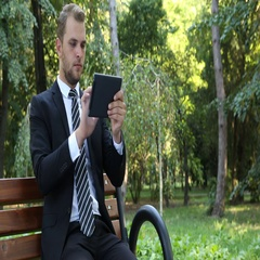 Handsome Business Man Using Digital Tablet Social Networking Beautiful Nature Stock Footage