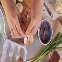 Preparing deviled eggs with organic eggs for appetizer. Step by step recipe. Stock Footage
