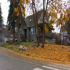 Architecture, grey home on quiet street, autumn, establishing shot Stock Footage