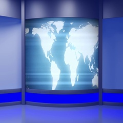 News TV Studio Set 242- Virtual Green Screen Background Loop Stock Footage