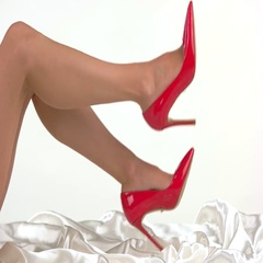 Legs in red high heels. Stock Footage