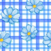 Seamless flowers cosmos on a gingham checks yellow colors.  blue flowers on Stock Illustration
