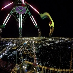 Scary ride high above the Las Vegas strip at the Stratosphere tower Stock Footage