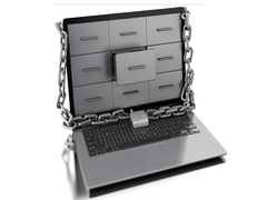 3d Laptop with padlock. Data security concept. Stock Footage