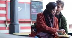 Couple at street food market Stock Footage