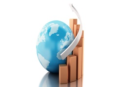 3d Business Growth chart with globe. Stock Footage