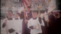 Teenagers at Catholic School graduation ceremony,3781,vintage film home movie Stock Footage