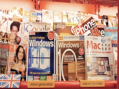 Press kiosk magazine covers hardware computers for geeks and fans Stock Footage