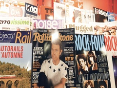 Press kiosk magazine cover of Rolling Stone with David Bowie Stock Footage